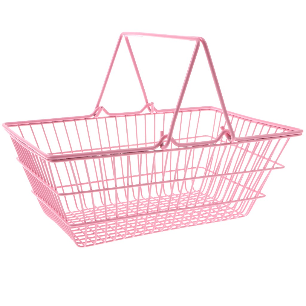 Mini Supermarket Shopping Hand Basket Kids Role Play Pretend Game Toy Pink M
