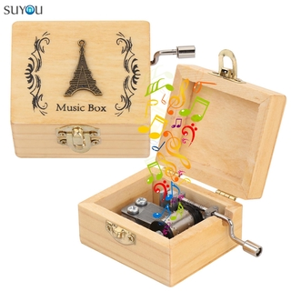 SUYOU Thanksgiving Day Music Box Valentine s Day Musical Boxes Wooden Hand Crank Mother s Day Birthday Classical Memorial Gifts Antique Engraved thumbnail