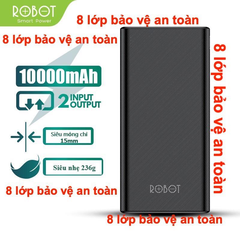 10.000mAh ROBOT Pin Sạc Dự Phòng 10000mAh Màu Đen - 2 Output & 2 Input - RT170 - HÀNG CHÍNH HÃNG
