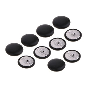 10Pcs Artificial Leather Covered Buttons Black, 25mm