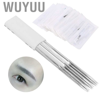 Wuyuu 50pcs 15R Manual Tattoo Needle Makeup Microblading Eyebrow Accessories