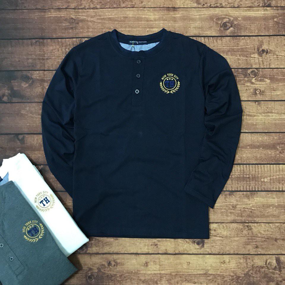 Áo thun nam tay dài New York City logo thêu viền bông lúa cực đẹp ASTD003