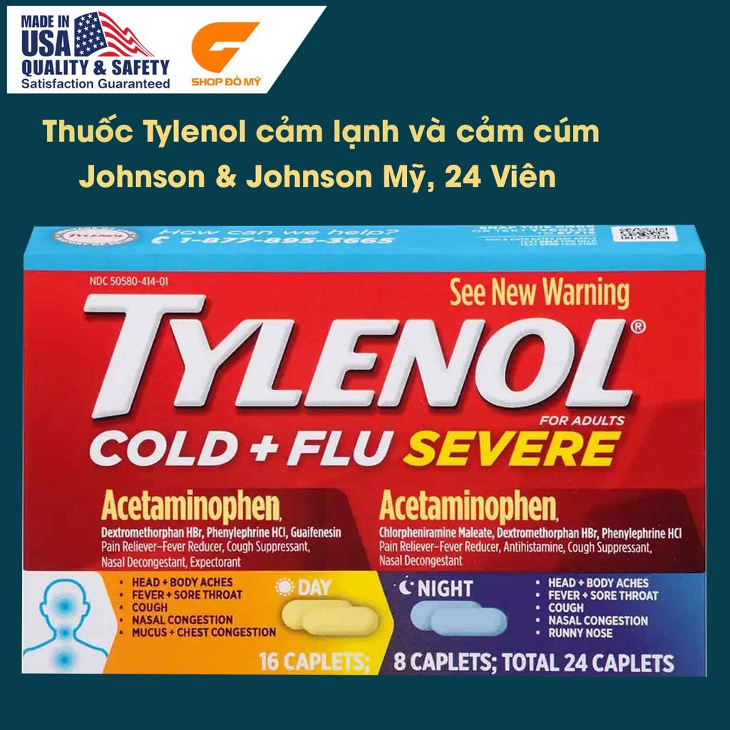 Viên uống Tylenol cảm cúm và cảm lạnh, Tylenol cold & flu Mỹ 24 viên