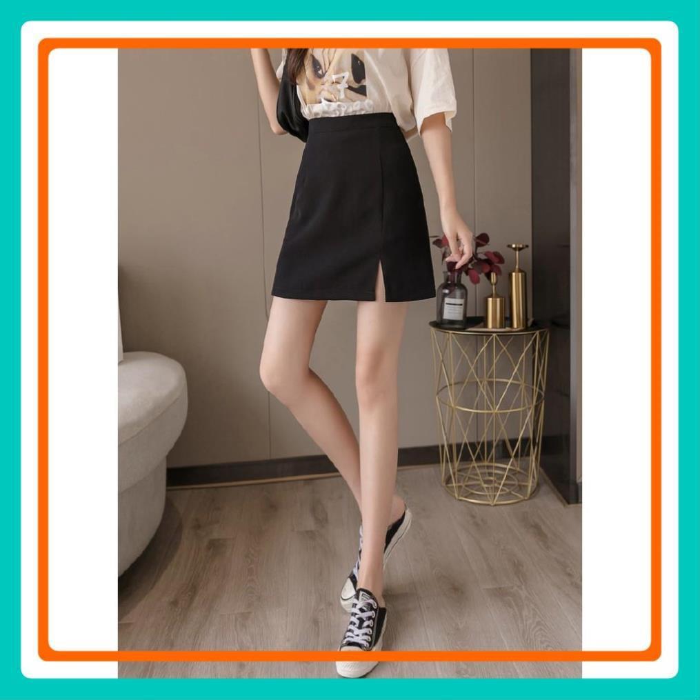 Chân váy chữ A ngắn kèm quần trong. Chân váy công sở lưng cao xẻ tà màu trơn dễ phối đồ trẻ trung thanh lịch
