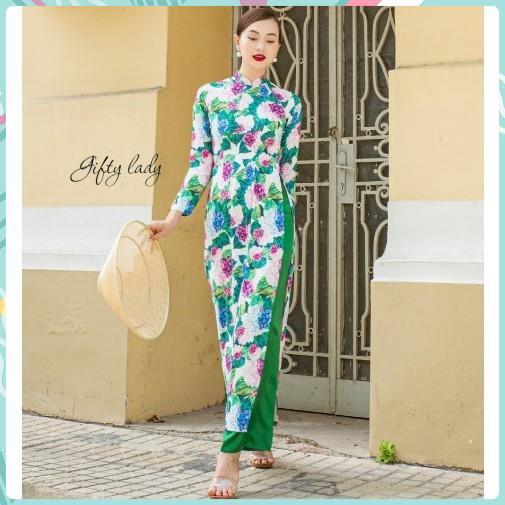 Áo Dài Truyền Thống Nữ Cổ Tròn Vải Lụa Màu Xanh - Áo Dài Tết Đẹp In Hoạ Tiết Hoa Cẩm Tú Cầu Có Nhiều Size, Giftylady