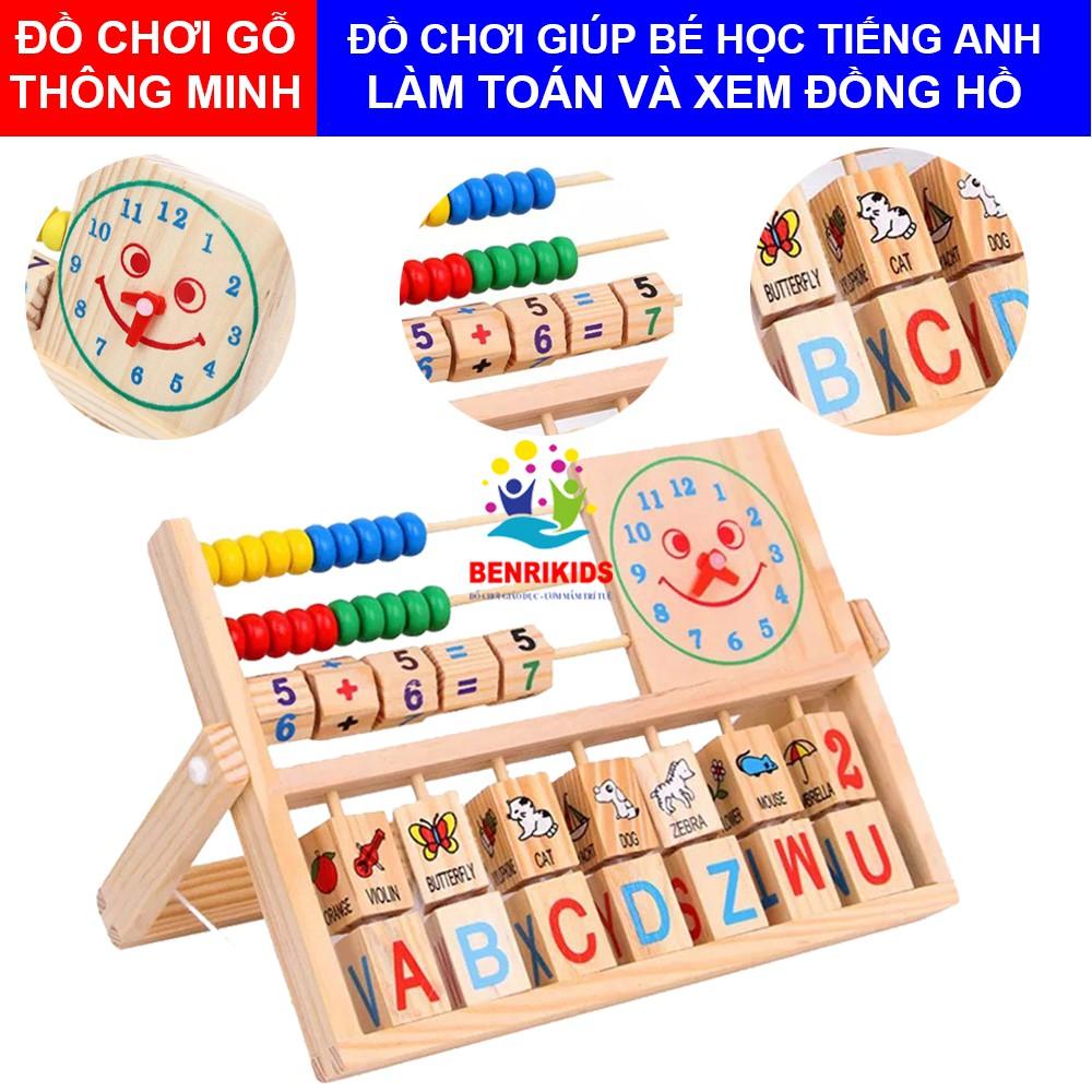 Đồ Chơi Gỗ Thông Minh,Kệ Học Chữ Tiếng Anh,Tập Làm Toán Và Xem Đồng Hồ Theo Phương Pháp Montessori Cho Trẻ Em