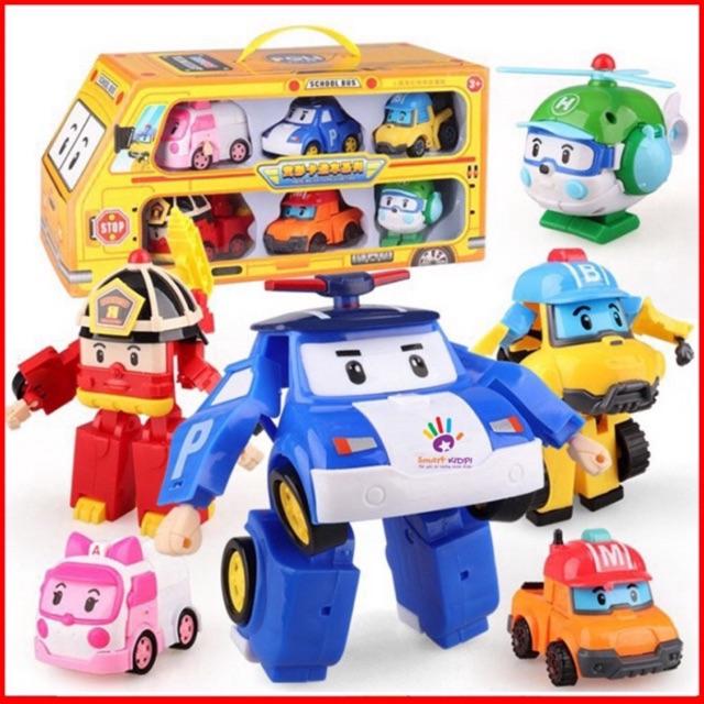 [Mã TOYFSSMAY giảm 10K đơn 50K] LOẠI TO_Bộ 6 xe Robot car poli biến hình cảnh sát_kèm video&ảnh thật no168-9