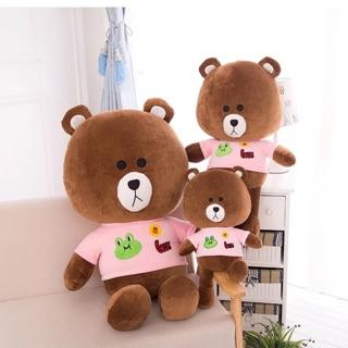 Thú bông gấu Brown mặc áo hồng 50cm – 70 cm – 100 cm