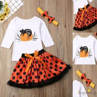 ♛loveyourself1♛-Cute Toddler Baby Girl Halloween Clothes Pumpkin Tops Tutu Skirt Dress 2Pcs/Set