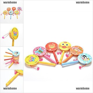 warmhome 1 Pcs Rattle Drum Cartoon Baby Kid Percussion Educational Musical Instrument Toy thro