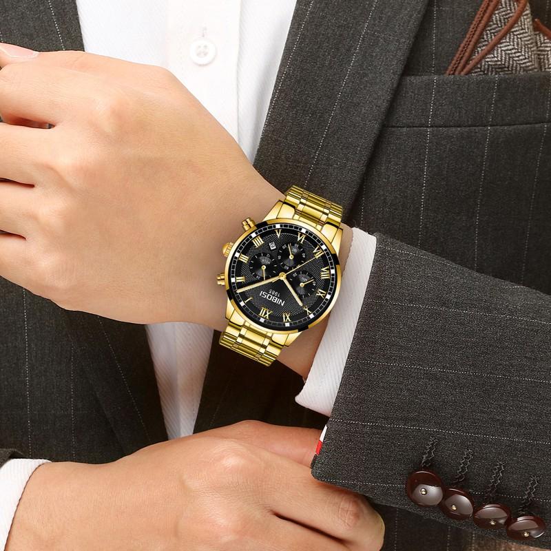 Đồng hồ nam NIBOSI 2339 dây thép đúc chạy 6 kim size 43mm chống nước +Pin + tool cắt mắt