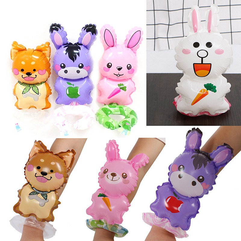CP☆ 2pcs Cartoon Wrist Balloon Birthday Party Favors Toys Children Day Gifts