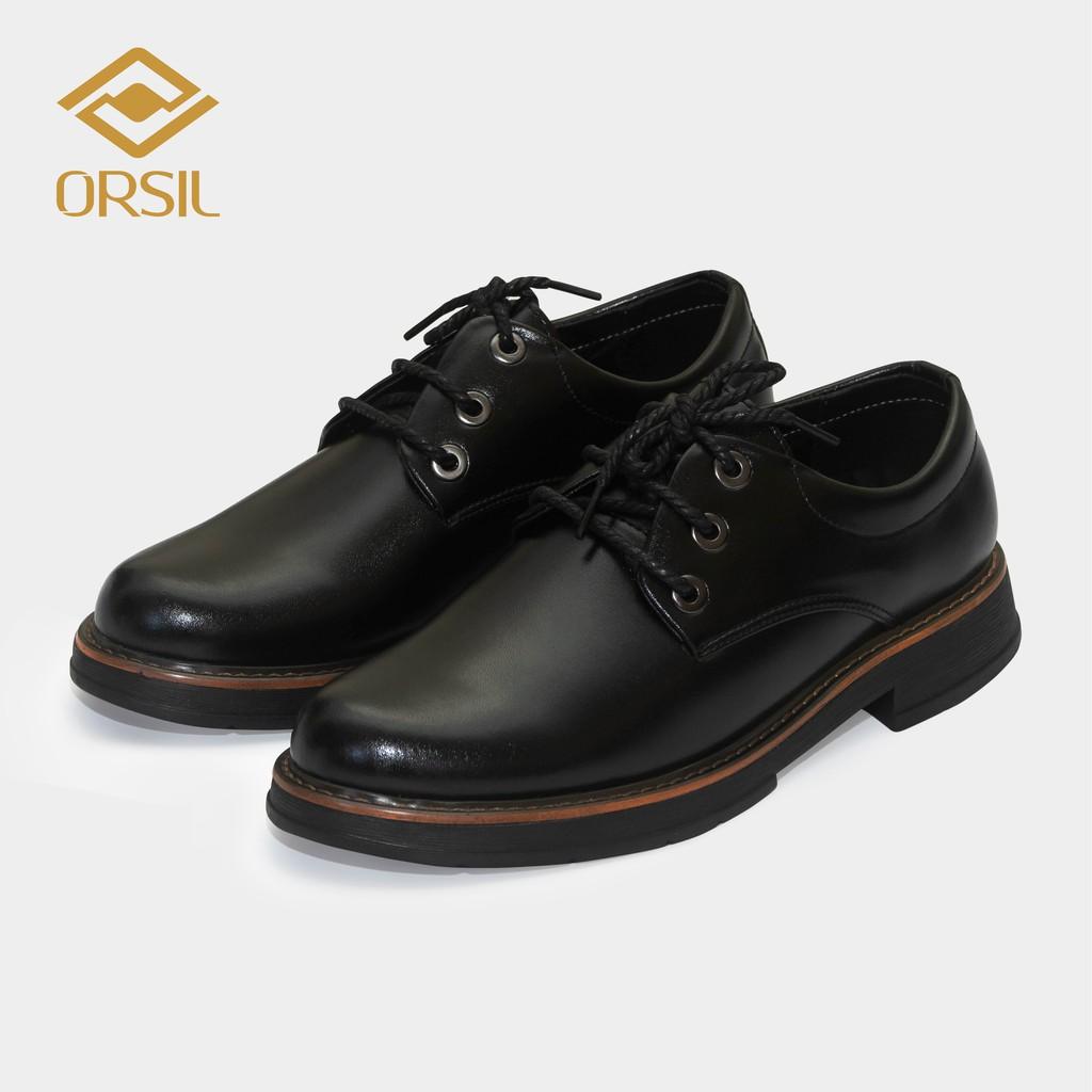 Giày đốc ORSIL103 da bò nam đế cao su cao cấp màu đen