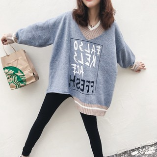2020 autumn and winter new chic trend asymmetrical hem personality letter loose knit sweater large v