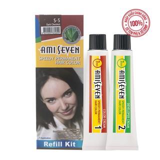 Nhuộm phủ bạc dược thảo Nhanh 7 Phút AMI SEVEN REFILL (Loại tiết kiệm) S5 Hạt dẻ đậm (60g+60g) Hàn Quốc thumbnail