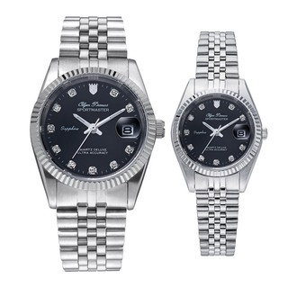 Đồng hồ đôi nam nữ dây kim loại Olym Pianus OP89322 MS OP68322 LS mặt đen thumbnail