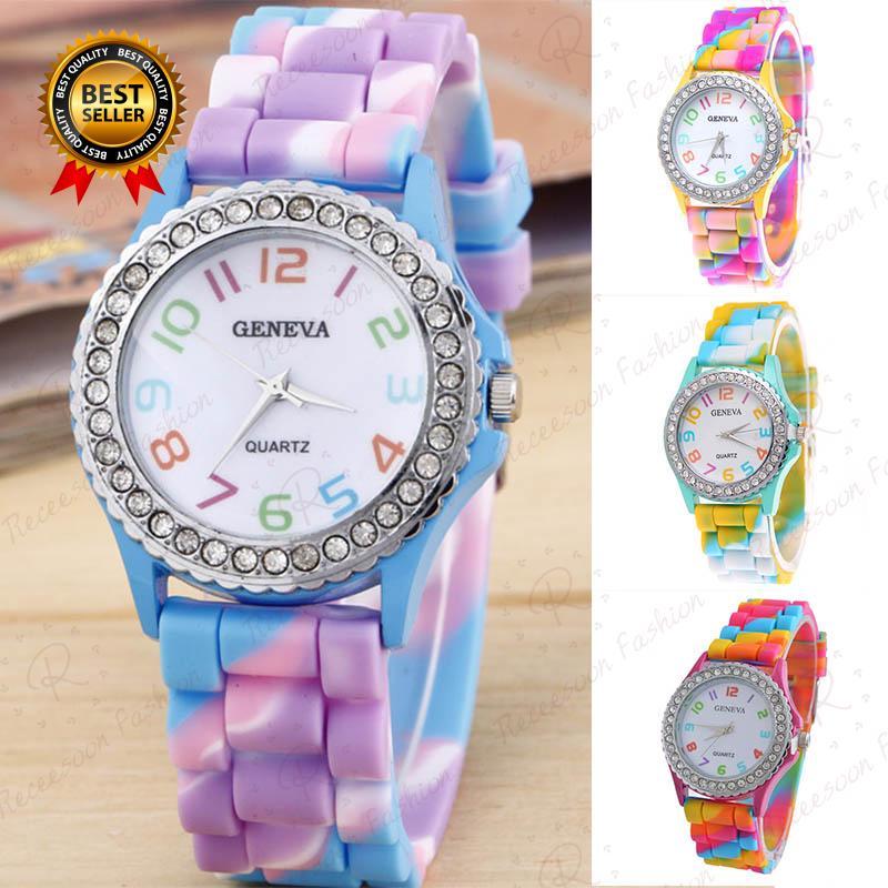 Đồng hồ nữ dây da màu sắc cầu vồng thumbnail
