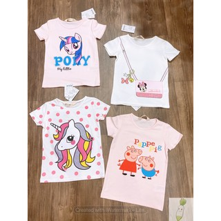 Áo thun bé gái, áo thun cộc tay bé gái, áo thun vải cotton cho bé gái họa tiết pony, peppa, minnie  APC10