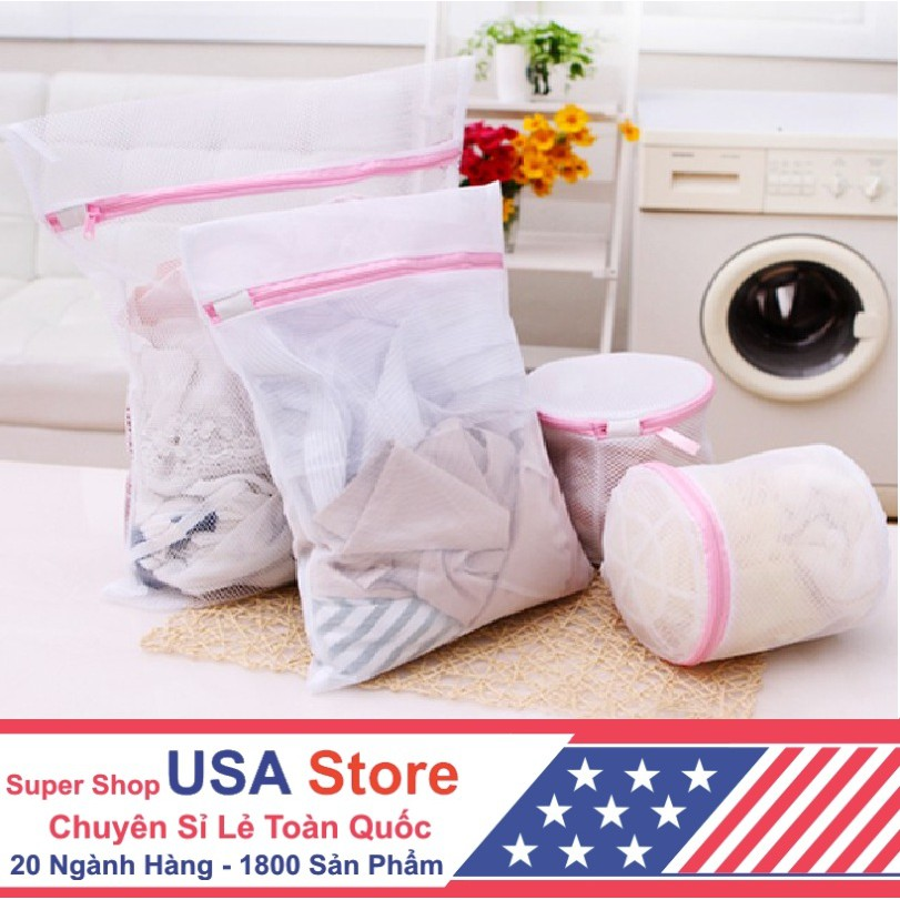 Túi Lưới Đựng Quần áo Máy Giặt Usa Store (Trắng)