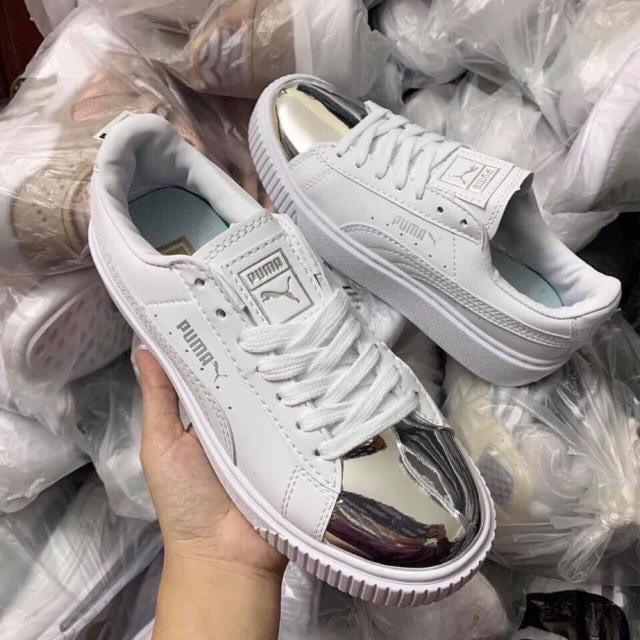 Hàng đẹp có sẵn Giày thể thao pumaa mũi bạc bóng '