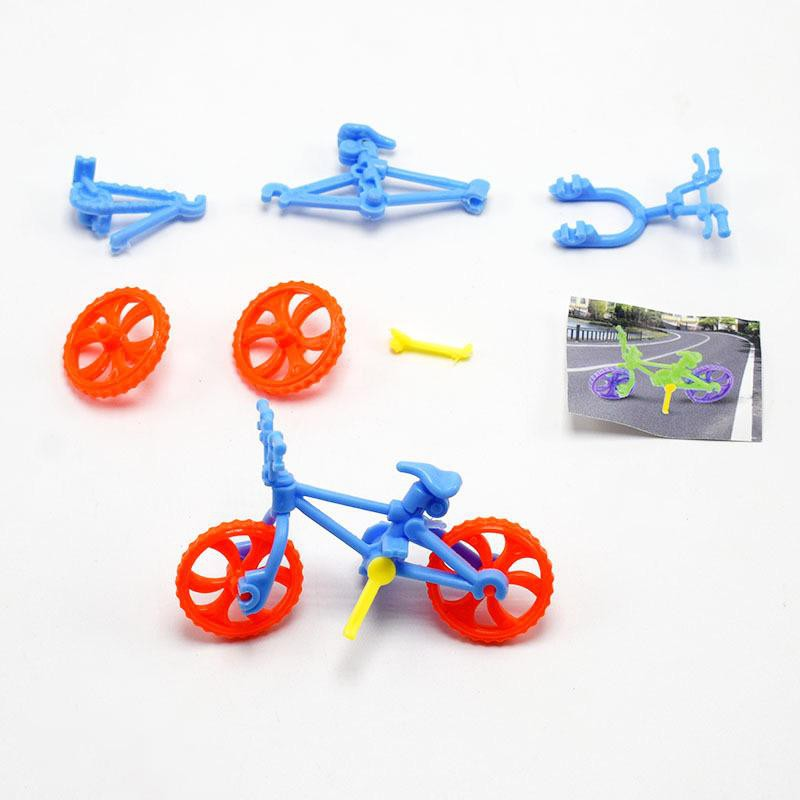 [CARE] 1set DIY Assembled Bicycle Toy Mini Bike Plastic Toys for Kid Education Kit