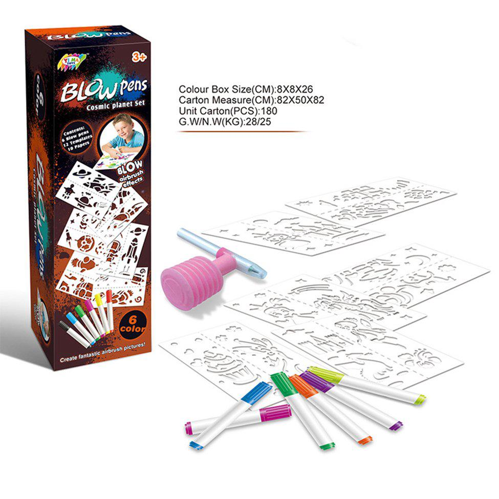 Blow Pens Airbrush Effects Cosmic Planet Set for Children Educational Toy