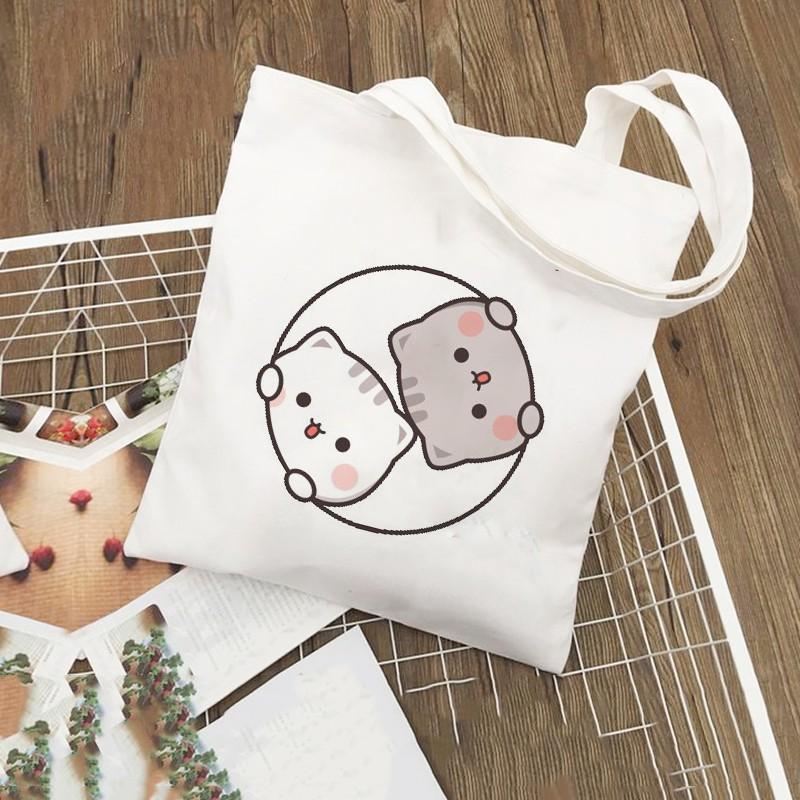 Túi Tote Vải Canvas Hình Cặp Đôi Mèo WICO Dễ Thương