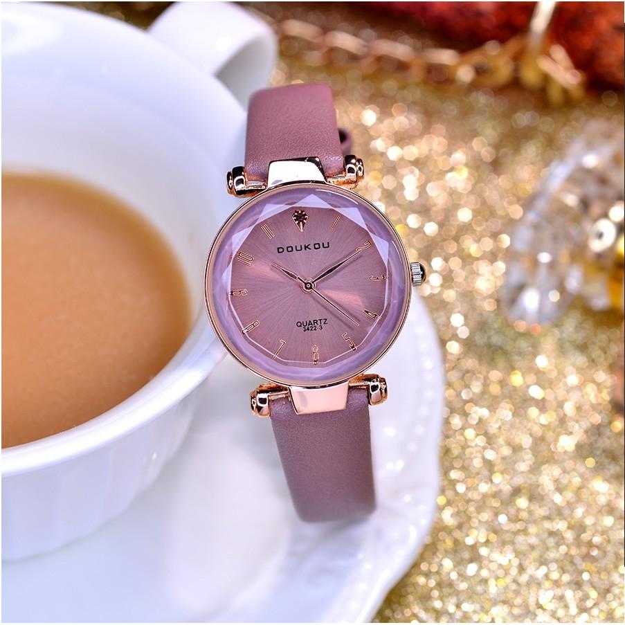 (Chính Hãng) Đồng hồ nữ DOUKOU DK3325 mặt vát 3D dây da