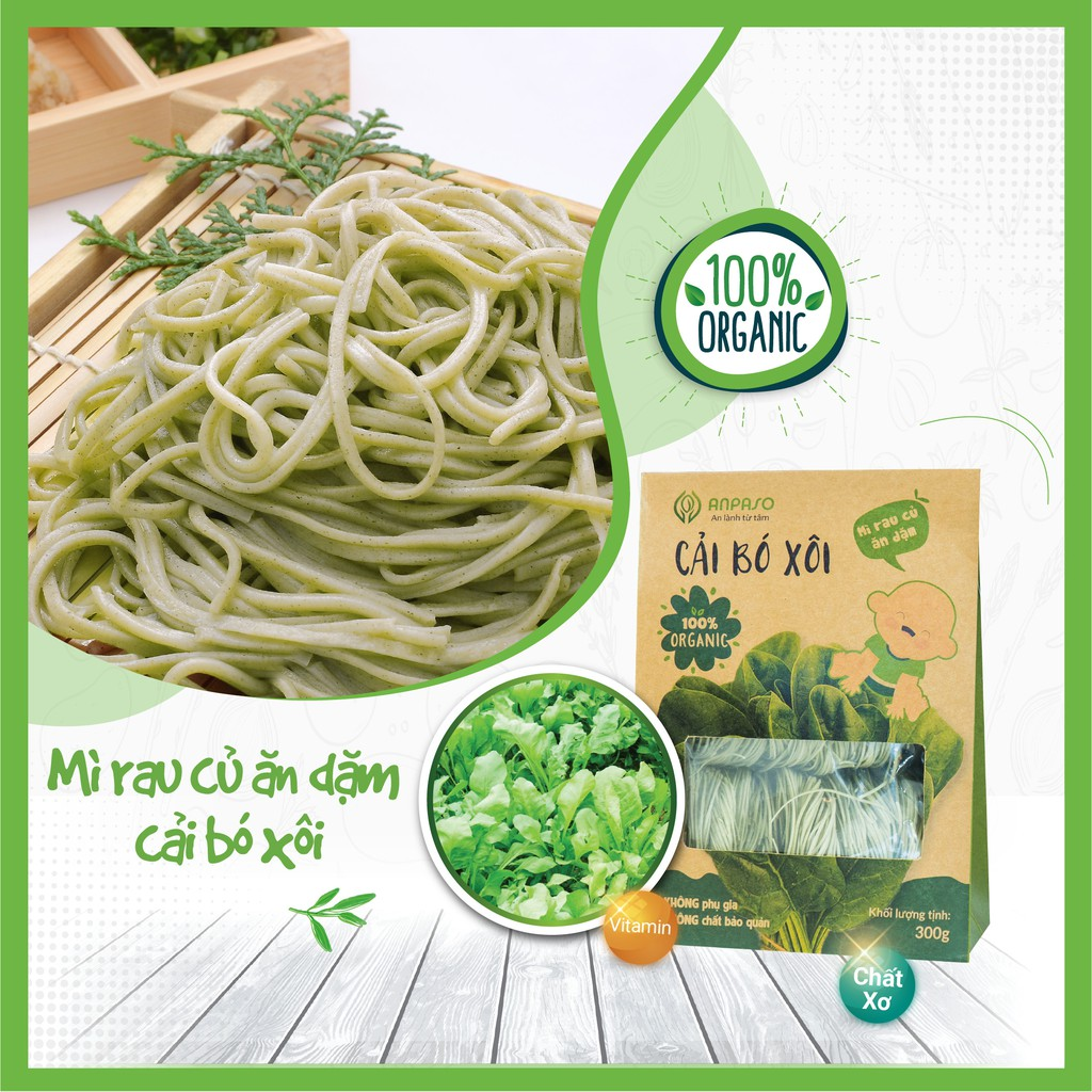 Mì Ăn Dặm Hữu Cơ Cải Bó Xôi Organic Anpaso cho bé từ 7 tháng bổ sung chất  xơ, vitamin, hỗ trợ hệ tiêu hóa (300g) giá cạnh tranh
