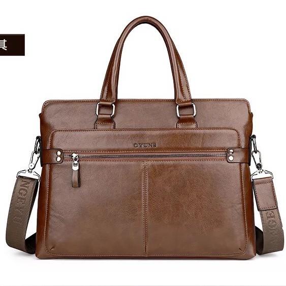 Túi xách cặp da đựng laptop công sở OYUNS T01 - KT:40x29x7cm (Nâu đậm-Nâu sáng-Đen)