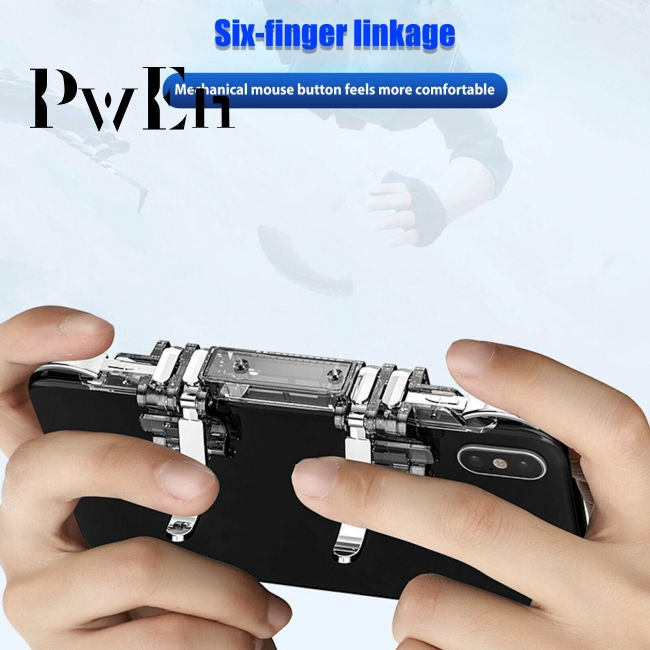 6 Finger Controller Trigger Game Fire Button Handle Gamepad for PUBG iOS Android