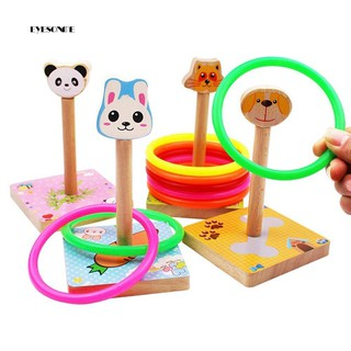 ♕Wooden Colorful Ferrule Quoits Toy Throwing Game Ring Hoop Interactive Gift