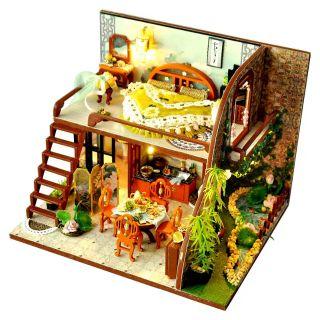 Kèm Mica và keo dán – Mô hình nhà gỗ búp bê Dollhouse DIY – TD13 Lotus Leaf