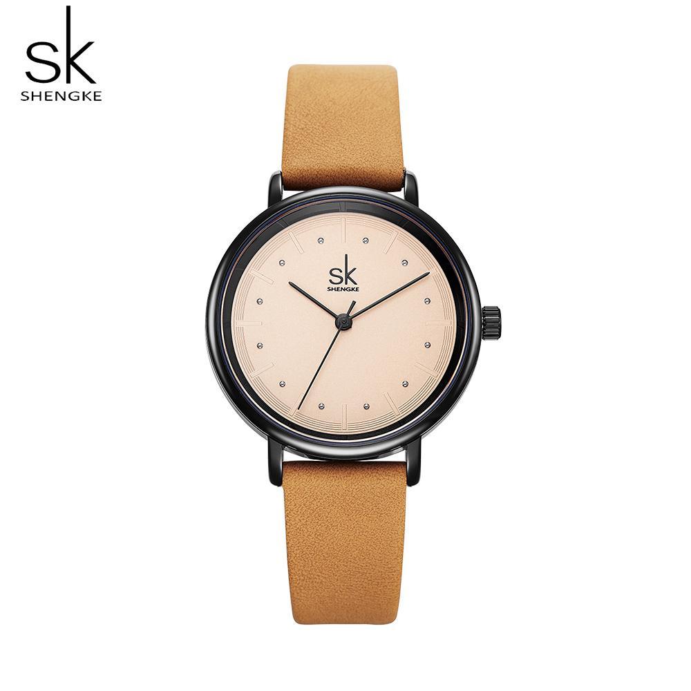 Đồng hồ nữ Shengke đơn giản dây đeo bằng da phong cách retro thời trang