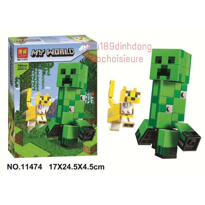 Lắp ráp xếp hình non lego minecraft my world 21156 , lari 11474 : Creeper Khổng lồ và Mèo gấm 184 mảnh