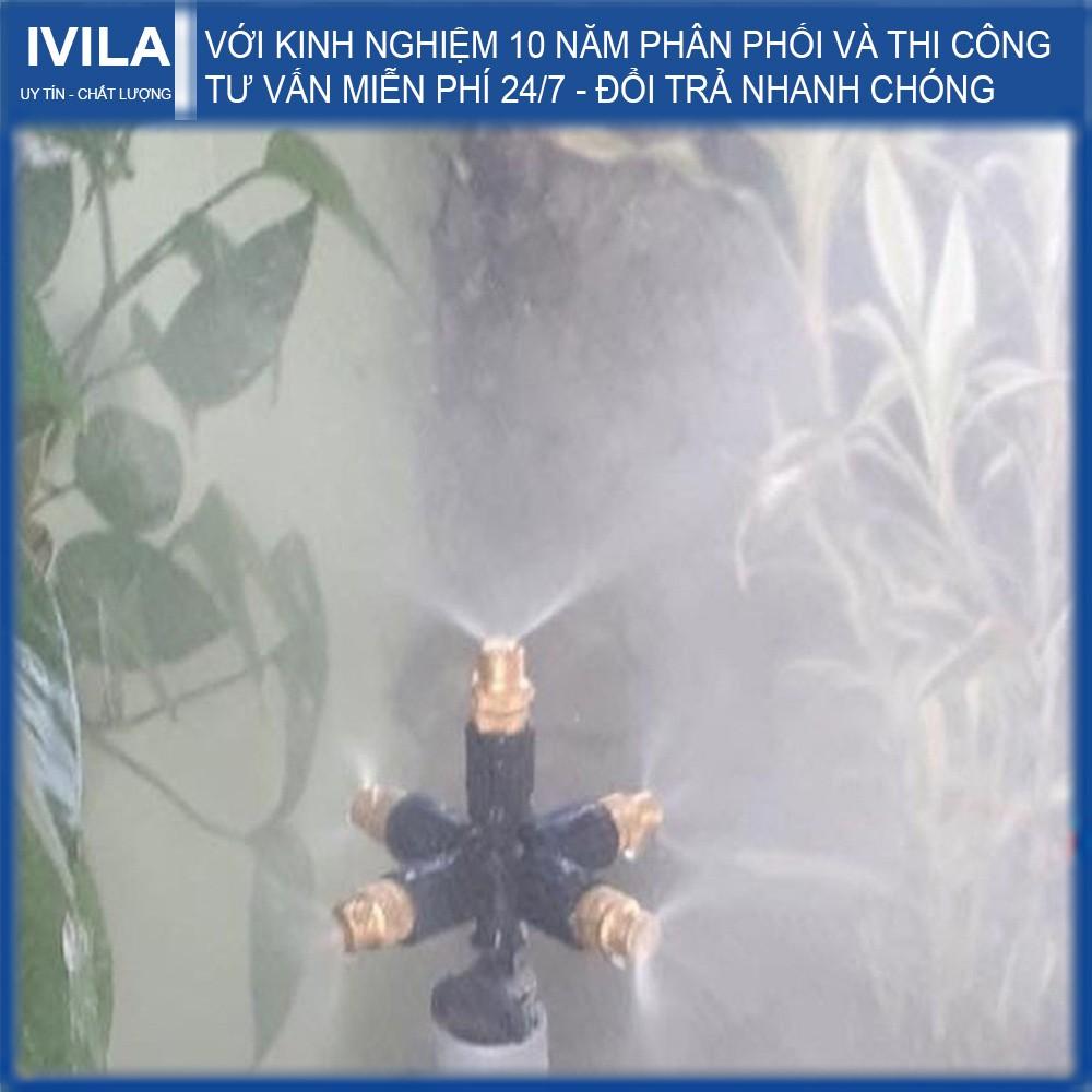 Bộ phun sương đồng 5 cửa gắn ren 21mm có van áp - Tưới phun sương làm mát cho lan, cây cảnh - Bảo Hành 12 tháng