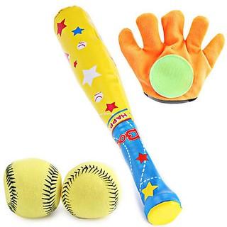Set đồ chơi bóng chày giúp bé tăng cường vận động sức khỏe 1 đôi găng tay gậy đánh bóng và 2 bóng thumbnail