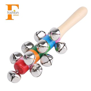 【FS】Cute Wooden Baby Kid Rattle Pram Crib Musical Bell Stick Shaker Toy