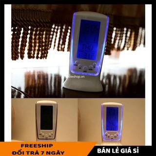 Đồng hồ SALE ️ Đồng hồ để bàn nhiệt kế, thiết kế sang trọng, thanh lịch, có đèn Led màu xanh tinh tế 4939