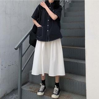 Chân váy xòe midi trơn một màu basic dễ phối đồ phong cách ulzzang Hàn Quốc – CV05B For Girls
