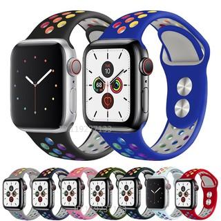 Dây đeo Apple Watch Strap 38/40mm 42/44mm Dây đeo thể thao silicon mềm cầu vồng đầy màu sắc thoáng khí cho iWatch Series SE 6/5/4/3/2/1