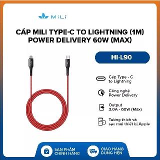 Cáp Mili Type-C to Lightning (1m) l Power Delivery 60W (Max) l Chứng nhận MFI l HI-L90 l Bảo Hành 2 Năm 1 Đổi 1