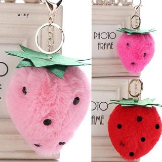 ★Lovely Strawberry Key Ring Holder Fruit Plush Keychain Women Gift Bag Ornament