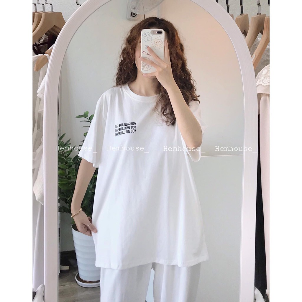 Mặc gì đẹp: Gọn tiện với Đồ bộ nữ 🦋 bộ thun màu trắng áo phông thụng và quần dài ống rộng dáng xuông đồ mặc ở nhà hay đi chơi thể dục
