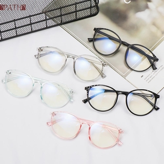 PATH Unisex Vintage Eyeglasses Reduces Eye Strain Anti-Blue Rays Optical Eye Glasses Transparent Round Frame High-definition Ultralight Cool Clear Lens Flat Mirror Eyewear/Multicolor