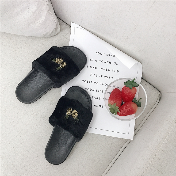 women sandal2019 new embroidered pineapple fur slippers outside wearing indoor one-word drag plush flat sandals women's