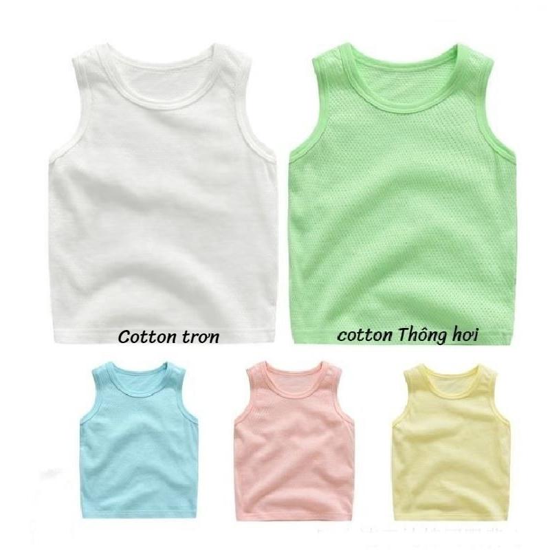 Áo ba lỗ cotton trơn/thông hơi cho bé trai và bé gái QATE436/QATE496