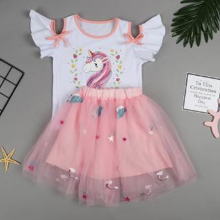 Set áo thun tay ngắn họa tiết in hình hoạt hình + chân váy ngắn phối lưới xinh xắn thời trang dành cho bé gái