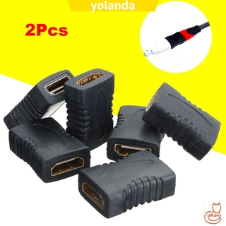 ☆YOLA☆ 2Pcs New HDMI Connector F/F Coupler Female To Female Extender Converter Adapter Black HDTV 1080P