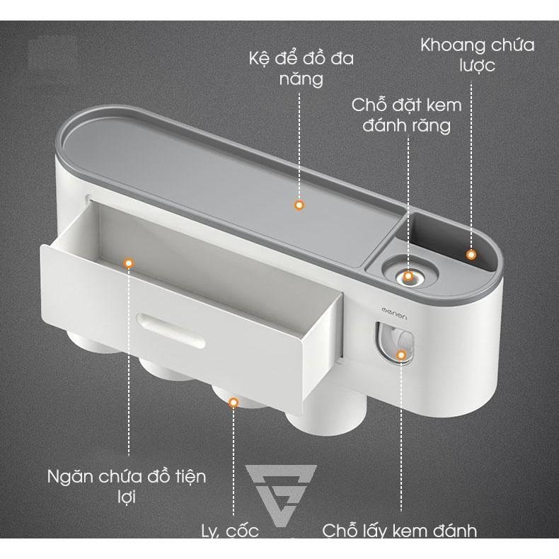 Bộ kệ treo bàn chải đánh răng kèm 4 cốc có ngăn kéo đa năng cao cấp